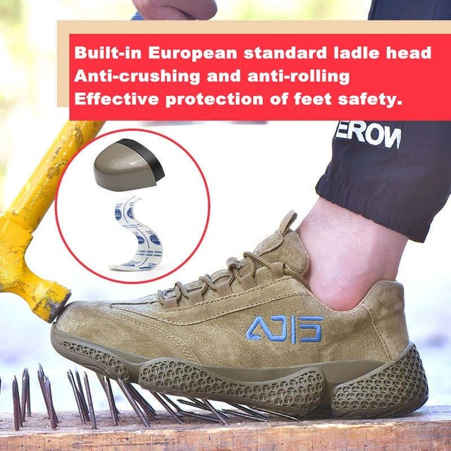 New song card men leather indestructible stab-resistant safety work shoes Outdoor cap toe steel Construction plus size sneakers | HOTSHOPDIRECT