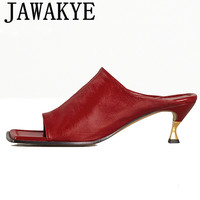Real leather mules metal kitten heel formal dress slippers party shoes women 2020 square open toe designer summer sandals