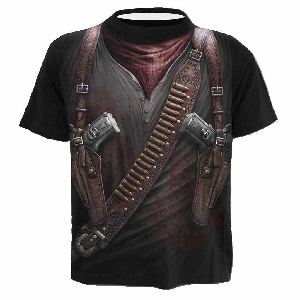 2020  Men's T shirt New 3D Gun Warrior Designer Tshirt Print Knife Harajuku Tops Tee Short Sleeve Fitness t-shirt Cowboy #YL5