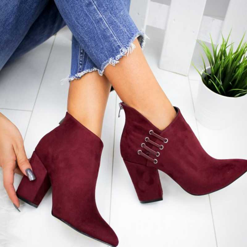 PUIMENTIUA מגפי נשים נעלי קרסול סקסי מגפיים קצר מגפי העקב אופנה מחודדת אירופה נעלי אישה בתוספת גודל 35 -43