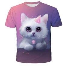 3D Dier Gedrukte T-shirt Voor Choldren Jongens Meisjes Zomer Korte Mouw Kat T-shirt Grappige T-shirt Kids Kinderen Kleding 4-14T