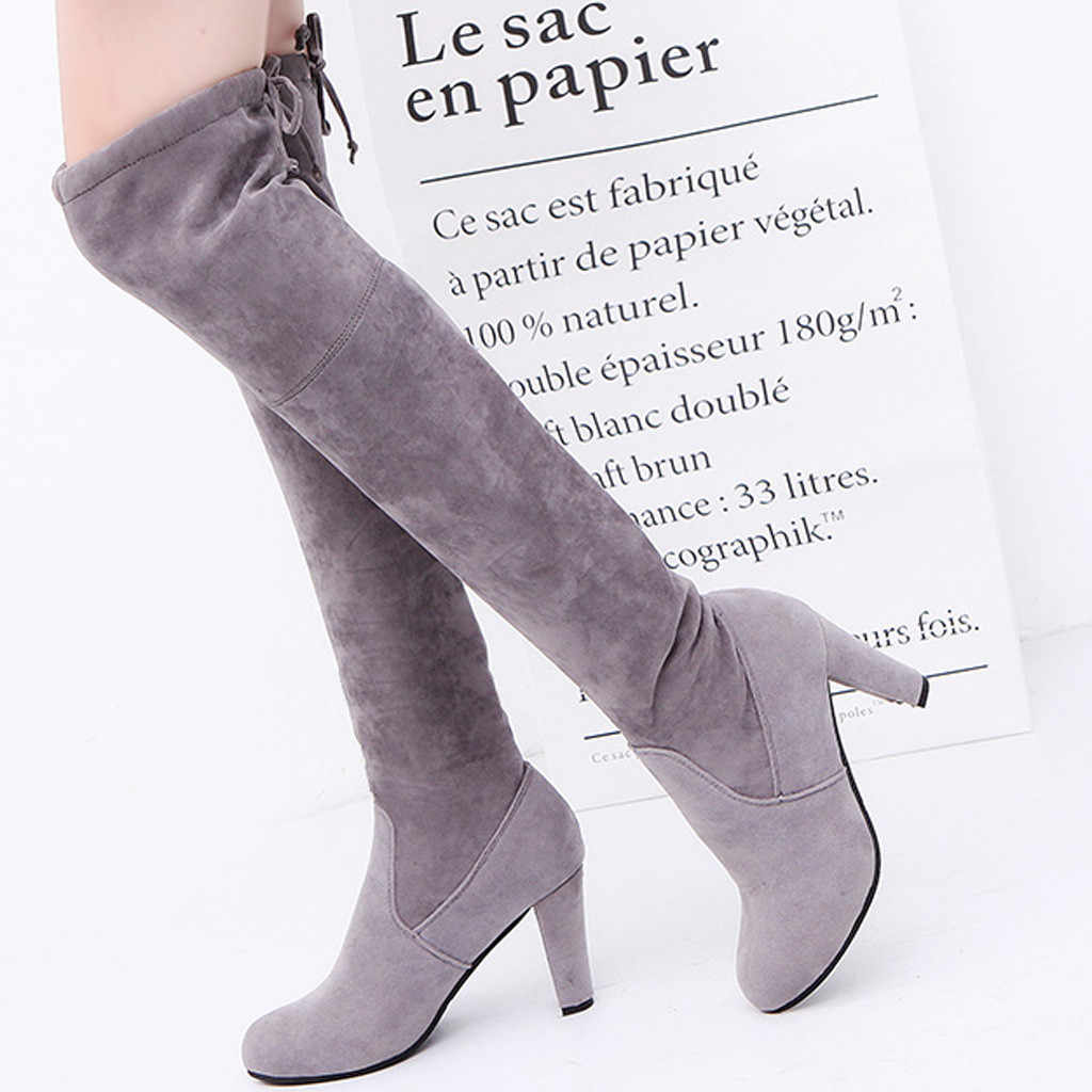 Size 35-41 Winter Over The Knee Boots Women Stretch Fabric Thigh High Sexy Woman Shoes Long Bota Feminina zapatos de mujer