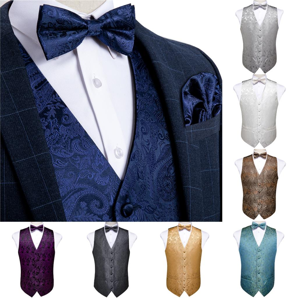 Men's Vest Navy Blue Paisley Silk Wedding Vest For Men Bowtie Hanky Cufflink Cravat Set For Suit Tuxedo DiBanGu New Designer