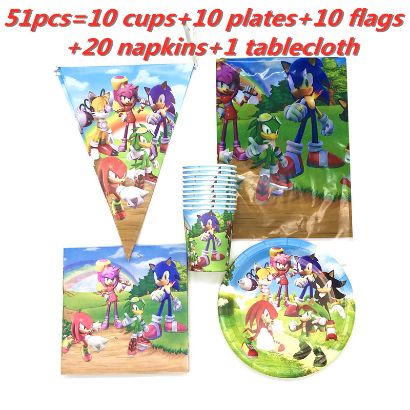 Sonic The Hedgehog Party Supplies Birthday Party Decorations Kids Disposable Tableware Paper Cup Plate Boy Baby Shower Supply Disposable Party Tableware Aliexpress