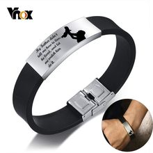 Vnox Mens Bracelets Waterproof Silicone Band for DAD Thankful Gift with Personalized Stainless Steel Tag Male Casual Pulseira(China)
