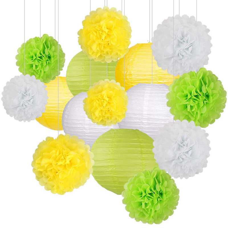 DIY Baby Shower Festival Party Supplies Wedding Gifts Birthday Tissue Paper Pom-poms Flower Ball Lanterns Set Decoration