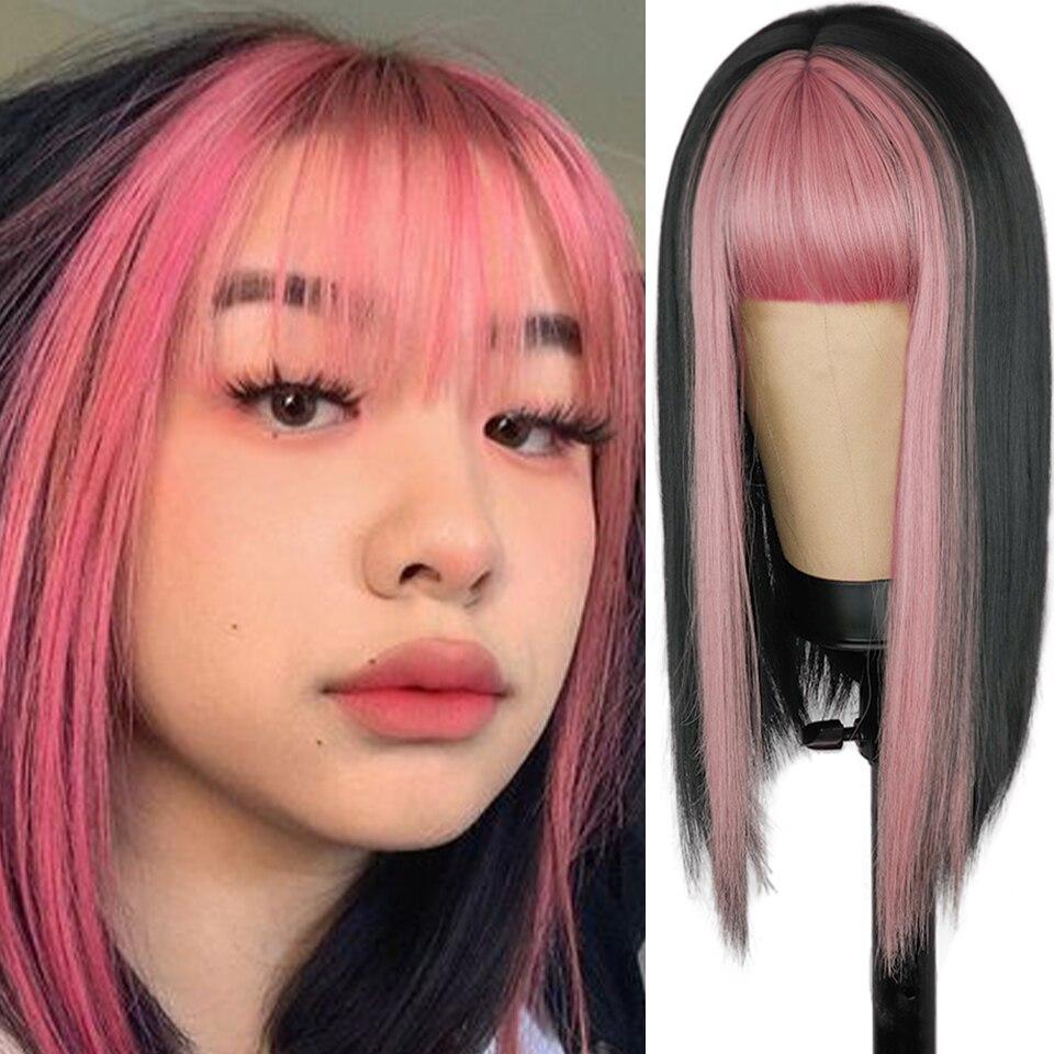 com franja resistente ao calor peruca ondulada cosplay para meninas