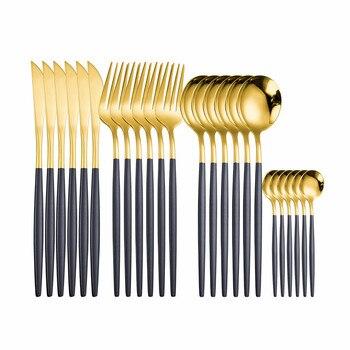 Набор золотых столовых приборов из нержавеющей стали 18/10, 24 шт.