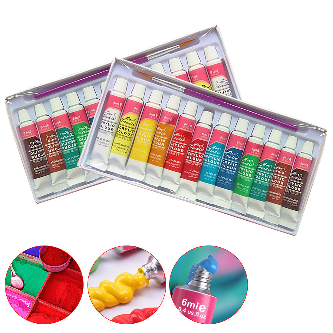 FangNymph 12 Colors Professional Acrylic Paint Set 6ML Acrylic Pigment Hand Painted Textile Wall Nail Wood Painting Art Supplies