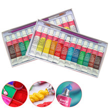 цена на FangNymph 12 Colors Professional Acrylic Paint Set 6ML Acrylic Pigment Hand Painted Textile Wall Nail Wood Painting Art Supplies