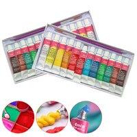 FangNymph 12 Farben Professionelle Acryl Farbe Set 6ML Acryl Pigment Hand Gemalt Textil Wand Nagel Holz Malerei Kunst Liefert