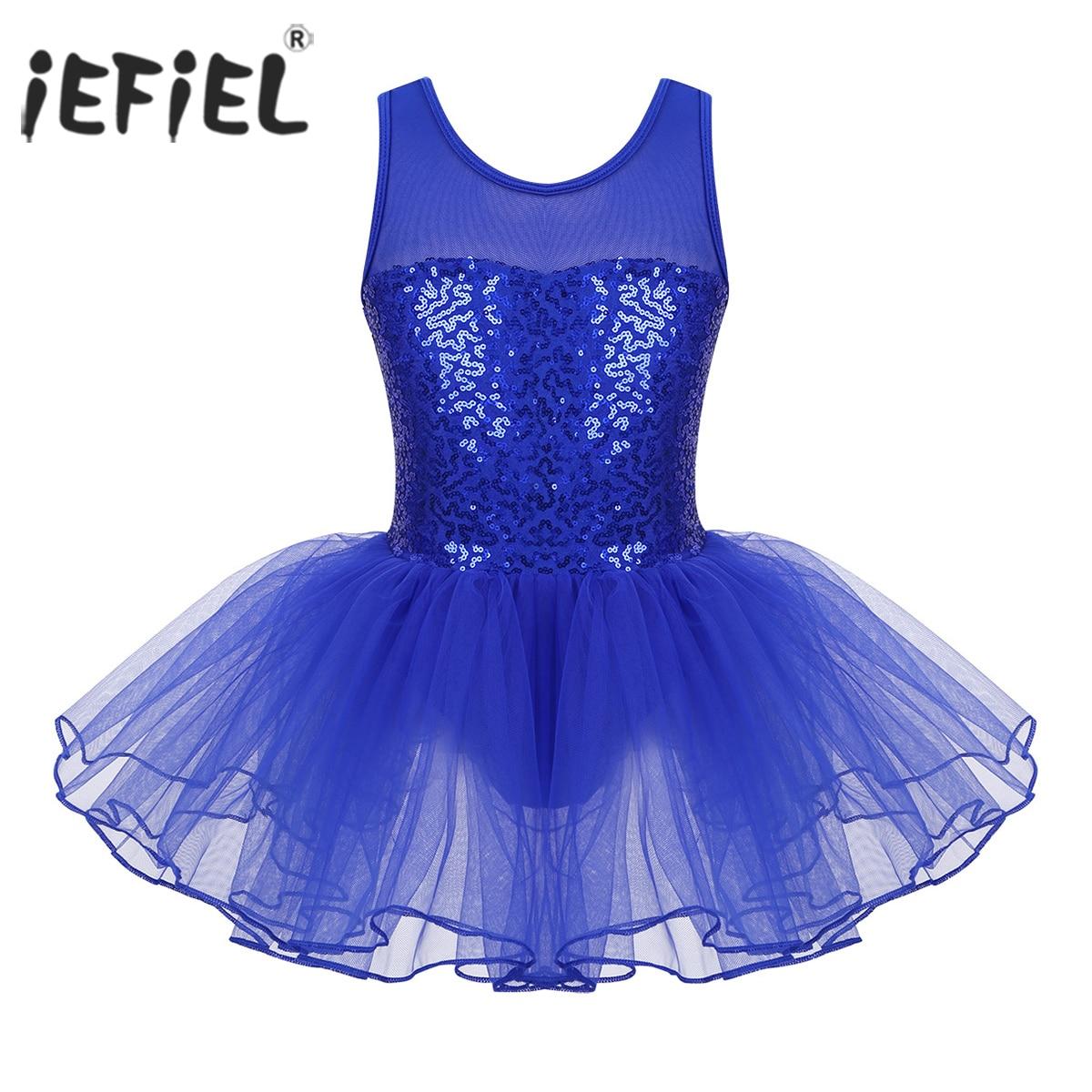Kids Girls Ballet Gymnastics Mesh Leotard Lace Tutu Dress Dancewear Costume