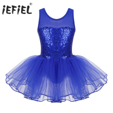 Gymnastics Leotard Costumes Tutu-Dress Mesh Girls Dancewear Ballerina-Performance Iefiel