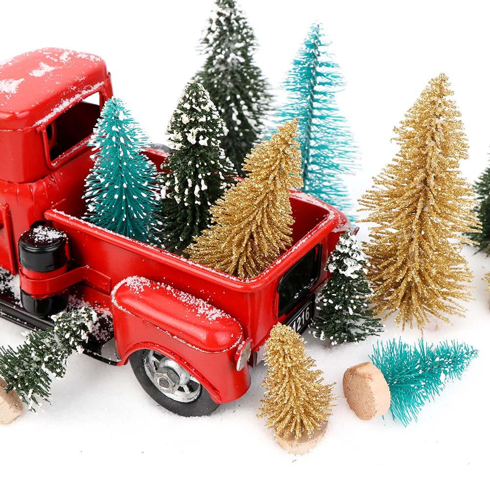 OurWarm 8 шт. Маленькая DIY Рождественская елка искусственная сосна дерево мини щетка для бутылок из сизаля Рождественская елка Санта, снег, мороз деревенский дом