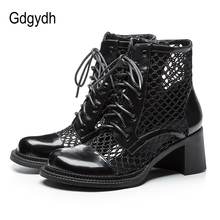 Gdgydh Chunky Heel Summer Shoes Lace Up Boots Women Heel Platform Hollow Out Black White Wedding Shoes Female Mesh Good Quality new women sandals for spring summer sexy black hollow mesh high heel pumps breathable comfotable lace up female casual shoes