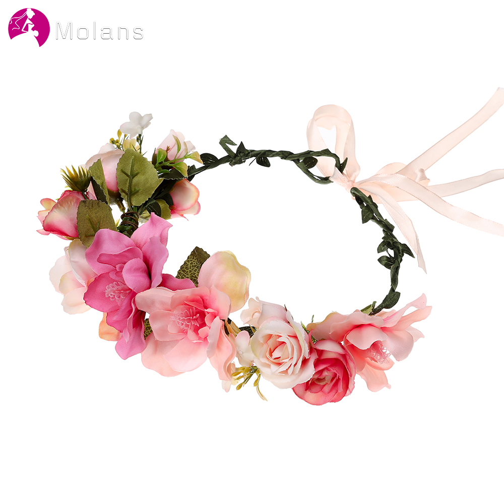 Women Spring Flower Crown For Bride Head Wreath Boho Handmade Flower Headband Adjustable Wedding Photography Hair Accessories