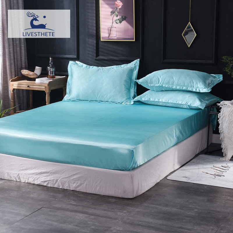 Liv-Esthete 1PCS Pure Silk Luxury Fitted Sheet Double Queen Mattress Cover On Elastic Band Adult Single Rubber