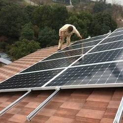 نظام الطاقة الشمسية 2.5KW على شبكة لوحة طاقة شمسية 300 واط 20 فولت الشمسية العاكس MPPT موجة جيبية نقية 2500 واط 220 فولت كابلات الموصلات سقف جبل
