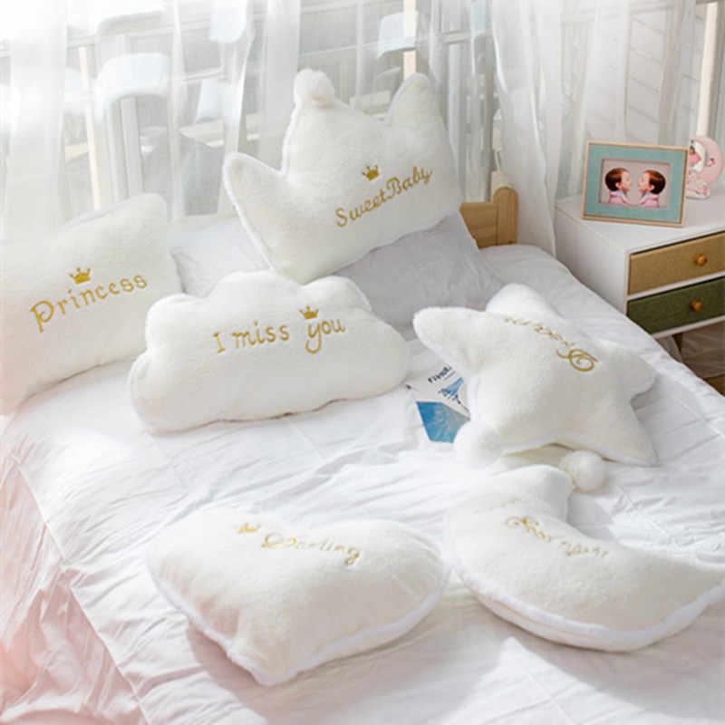 Komfort Plüsch Wolke Kissen Sofa Bett Kissen Kissen Sterne Mond Crown Stofftiere Kissen Baby Mädchen Weihnachten Geschenk Raum Dekoration