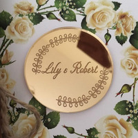 Mirror Gold Wedding Tag, Personalised acrylic mirror save the date magnets, wedding favour tags, Custom engraved Names