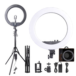 Fosoto RL-18BII LED Ring Light 3200-5600K Lamp Lighting with Tripod&Batteries Slot For Camera Photo Youtube Studio Video Makeup