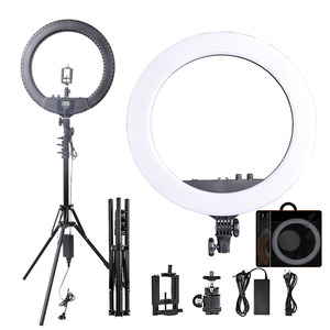Image 1 - Fosoto RL 18BII LED Ring Light 3200 5600K Lamp Lighting with Tripod&Batteries Slot For Camera Photo Youtube Studio Video Makeup