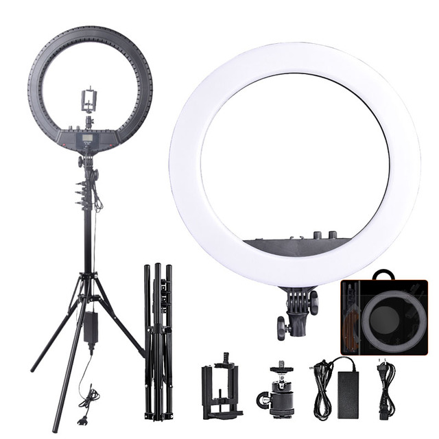 Fosoto RL 18BII LED Ring Light 3200 5600K Lamp Lighting with Tripod&Batteries Slot For Camera Photo Youtube Studio Video Makeup