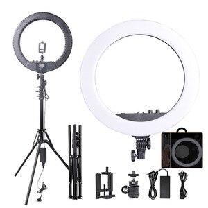 Image 1 - Fosoto RL 18BII LED Ring Light 3200 5600K illuminazione della lampada con treppiede e Slot per batterie per fotocamera foto Youtube Studio Video Makeup