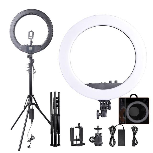 Fosoto RL 18BII LED Ring Light 3200 5600K illuminazione della lampada con treppiede e Slot per batterie per fotocamera foto Youtube Studio Video Makeup