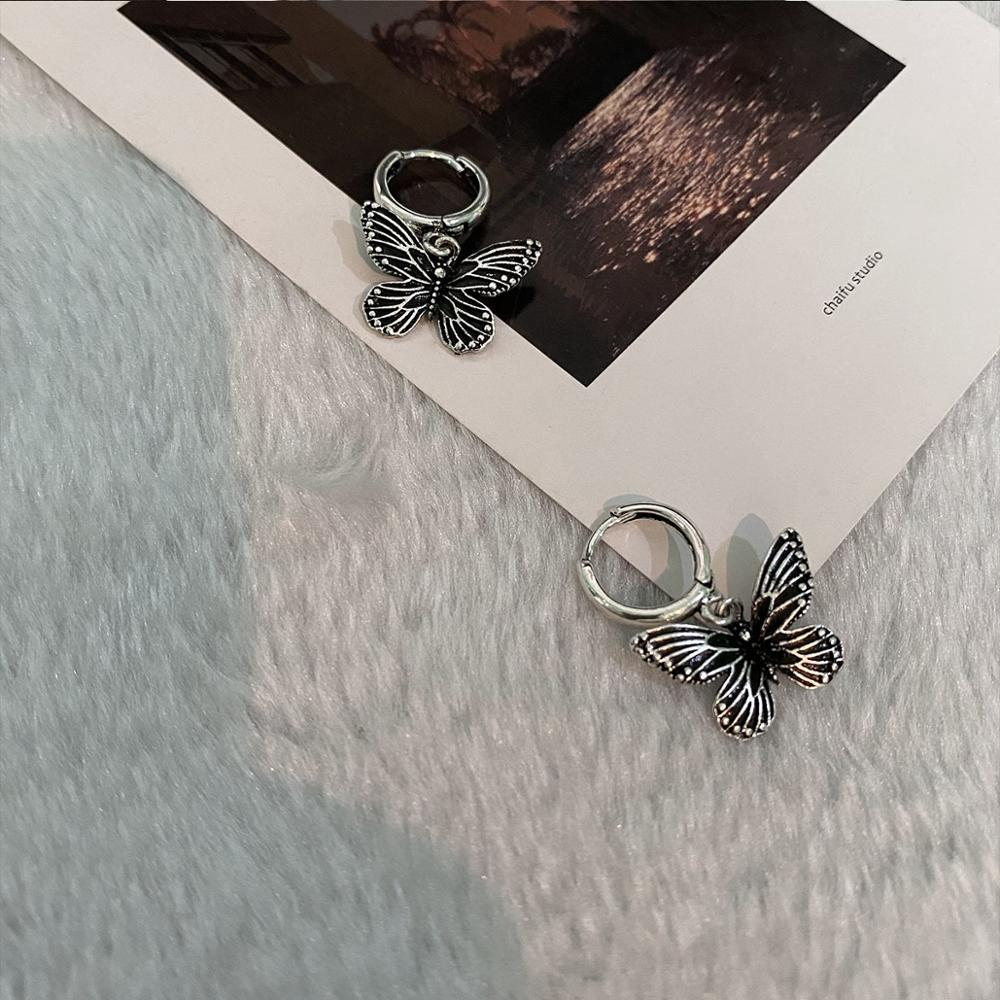 Vintage 90s Butterfly Alloy Silver Color Hoop Earrings For Women Girl Trendy Harajuku Cool Hip Hop Animal Earrings 2020 Jewelry