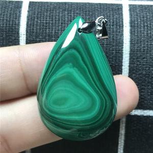 Image 2 - Colgante de malaquita verde Natural joyería para mujer señora hombre cristal 925 Plata 37x25x8mm cuentas pendiente collar de gemas AAAAA