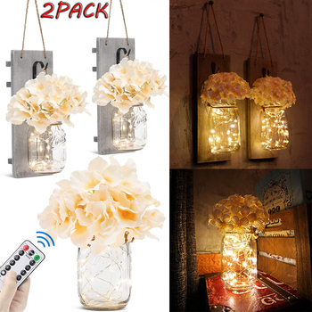2Pcs Mason Jar Light Remote Control Decor Rustic Wall Sconces Hydrangea Flowers LED Strip Lights