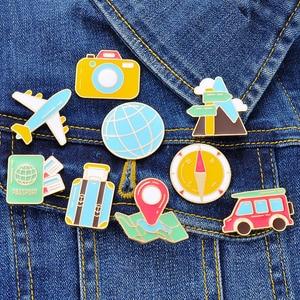 Cartoon airplane earth suitcase compass car camera brooch jacket pin cardigan accessories Korean simple fashion wild coat jewelr