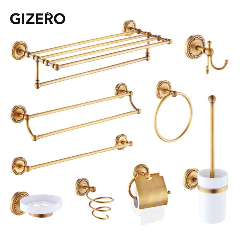 GIZERO Bathroom Accessories Brass Tower Rack Hooks Towel Ring Toilet Paper Holder Toothbrush Holder Toilet Brush Holder ZR2031