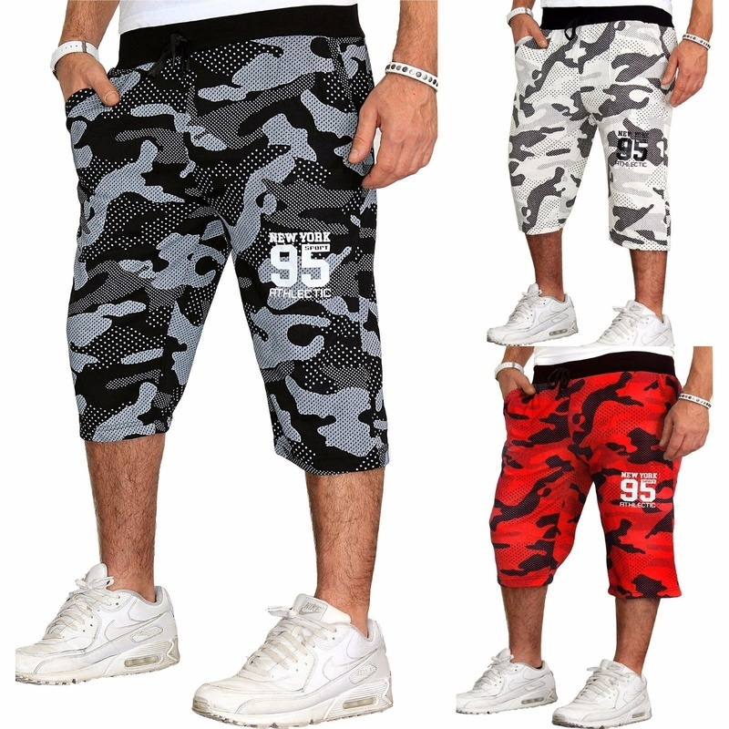 ZOGAA Summer Men Shorts Print Camouflage Casual Shorts Fitness Beach Sports Shorts Loose Drawstring Running Training Undershirts