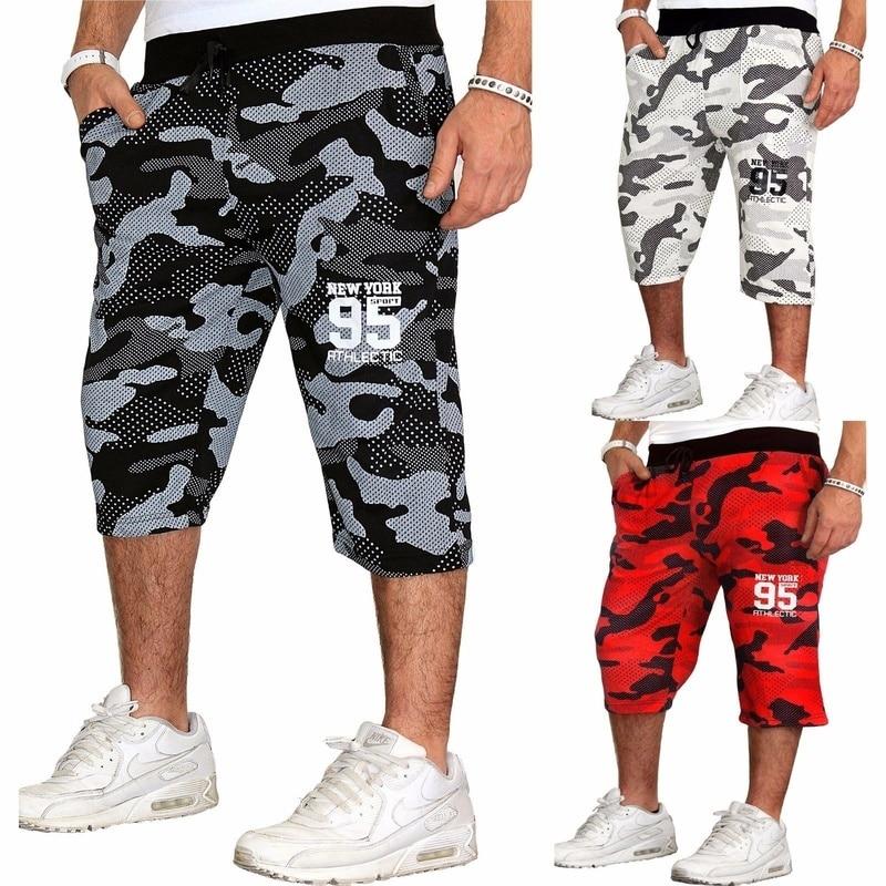 ZOGAA Summer Men Shorts Print Camouflage Casual Shorts Fitness Beach Sports Shorts Loose Drawstring Running Training Undershirts