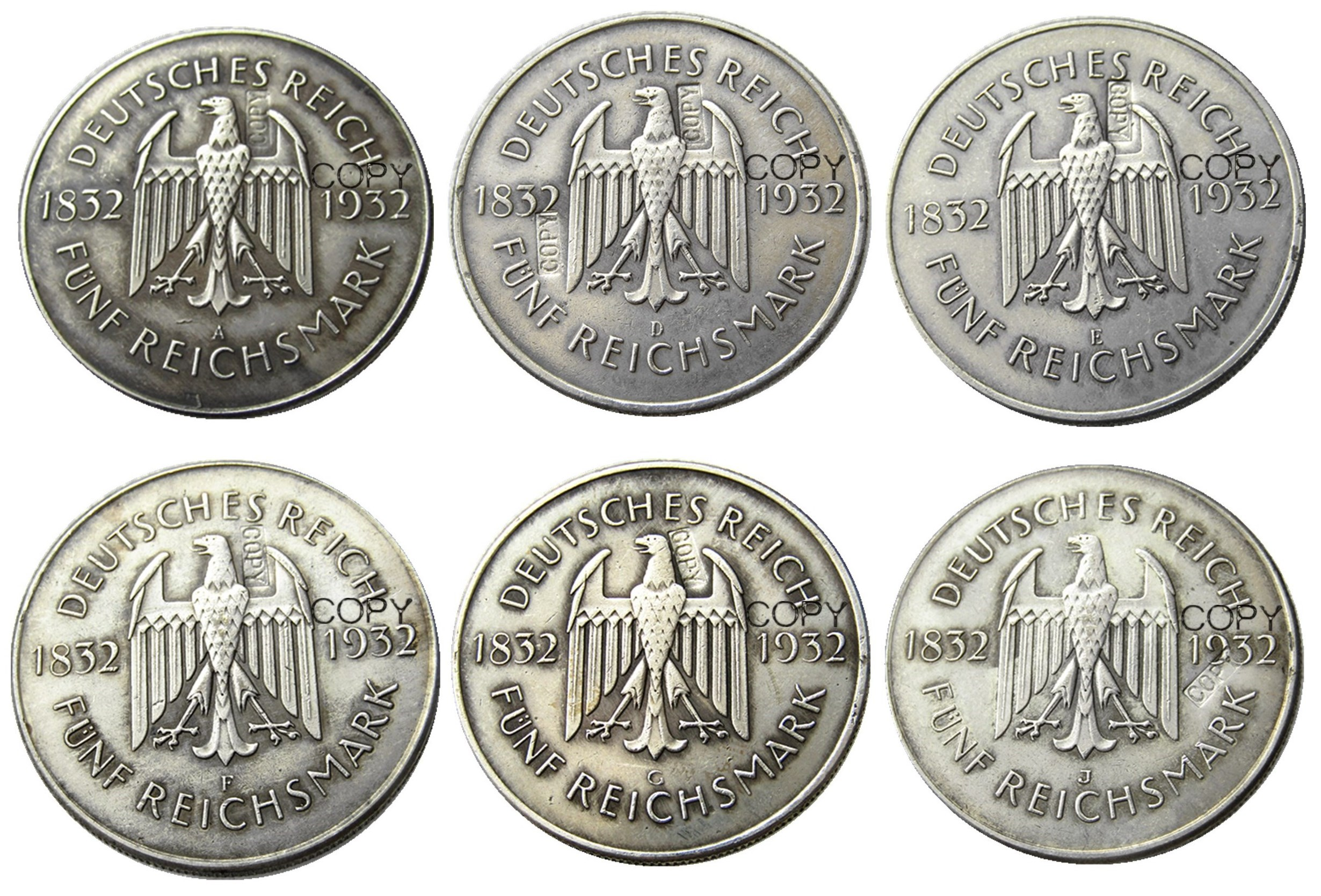 A Set Of 1932ADEFGJ  6pcs GERMANY 5 Reichsmark Silver Plated Copy Coin