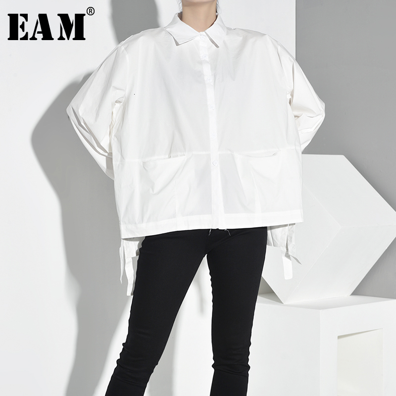 [EAM] Women Pocket Bandage Spliced Causal Blouse New Lapel Long Sleeve Loose Fit Shirt Fashion Tide Spring Autumn 2019 1A0040