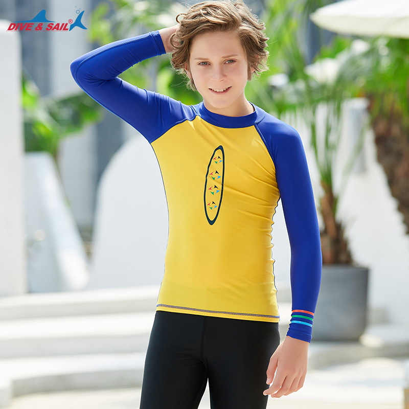 2019 New Style CHILDREN'S Swimwear Teenager Long Sleeve Sun-resistant Diving Suit Split Type Quick-Dry Drifting Snorkeling Jelly