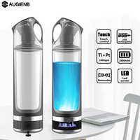 AUGIENB 500ml hidrógeno rico botella de agua alcalina lonizador generador LED RGB taza portátil USB recargable Anti-envejecimiento regalo