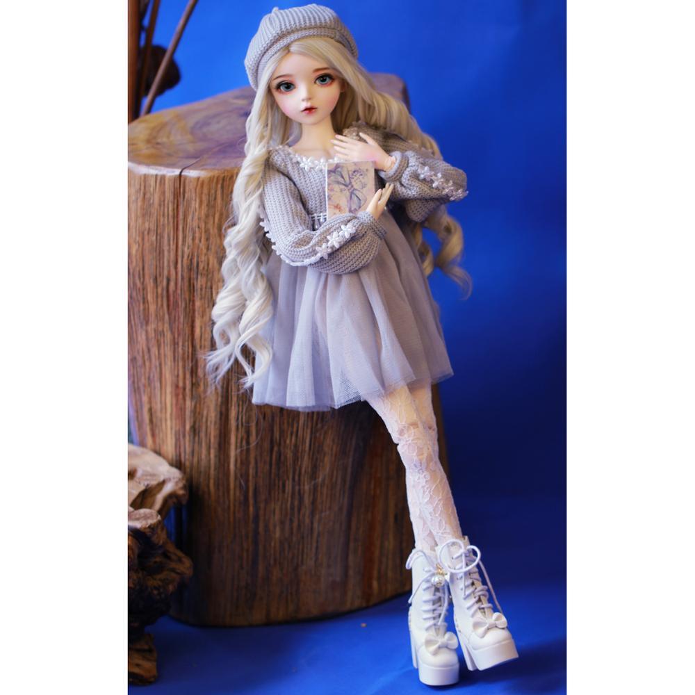 Шарнирная кукла 60 см, подарки для девочки, кукла с серебряными волосами и одеждой, кукла NEMEE со сменными глазами, лучший подарок на день Святого Валентина, ручная работа 5