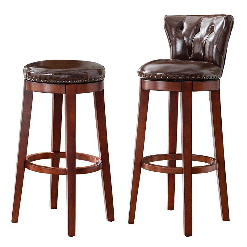 Solid Wood European Bar Stool American Bar Stool Simple Home Bar Chair Bar Stool High Stool