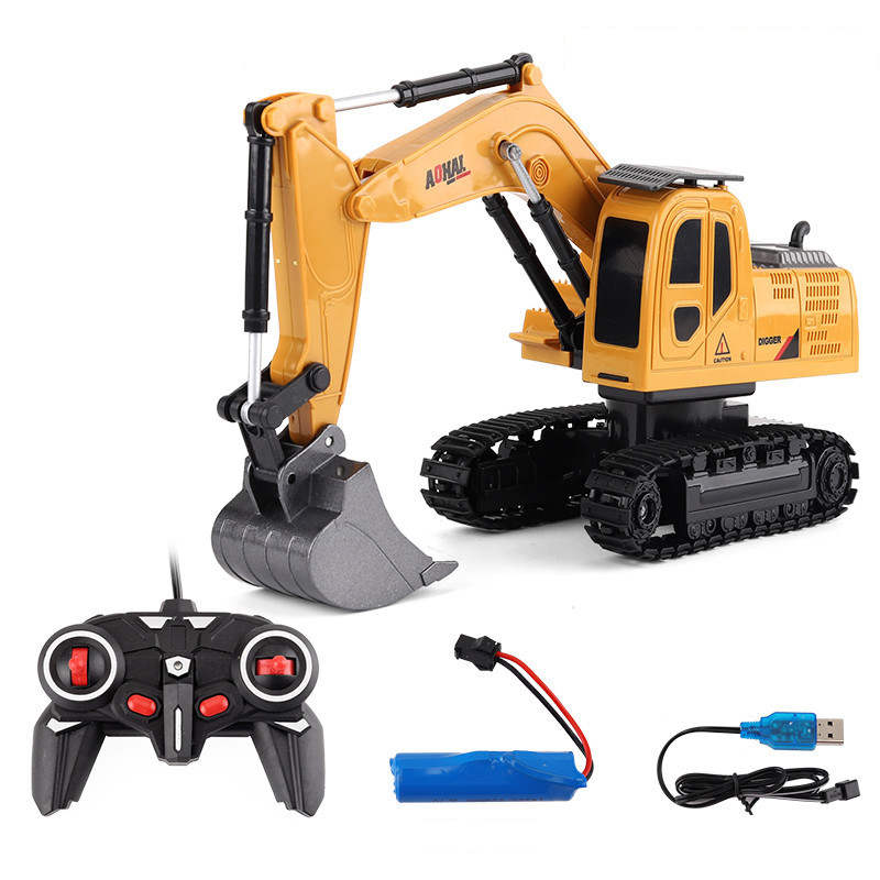 6CH Samll RC Excavator Toys With Musical And Light Children's Boys RC Truck Beach Toys RC Engineering Car Tractor Xmas Gift