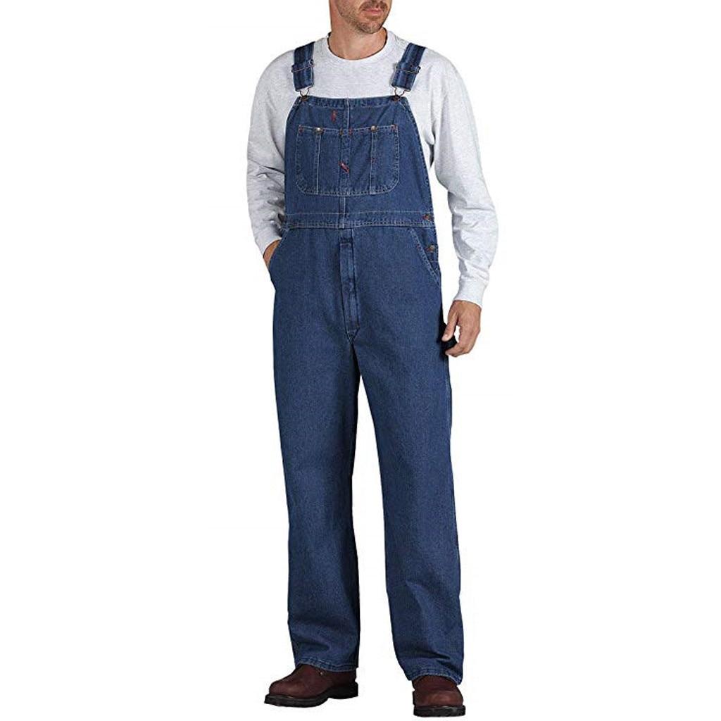SAGACE Men's New Fashion Casual Pocket Denim Tooling Overalls Suspender Strap Pants  Fashion 2019 Men Denim Carpenter Loose