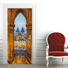 цена на 3D creative Gothic architecture door stickers wall stickers self-adhesive waterproof removable