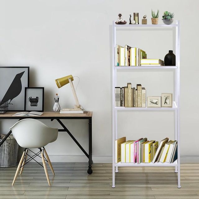 4 Tiers Wall Leaning Ladder Shelf Bookcase Bookshelf Storage Rack Shelves Storage Stand Unit Organizer for Office Home Bedroom 4