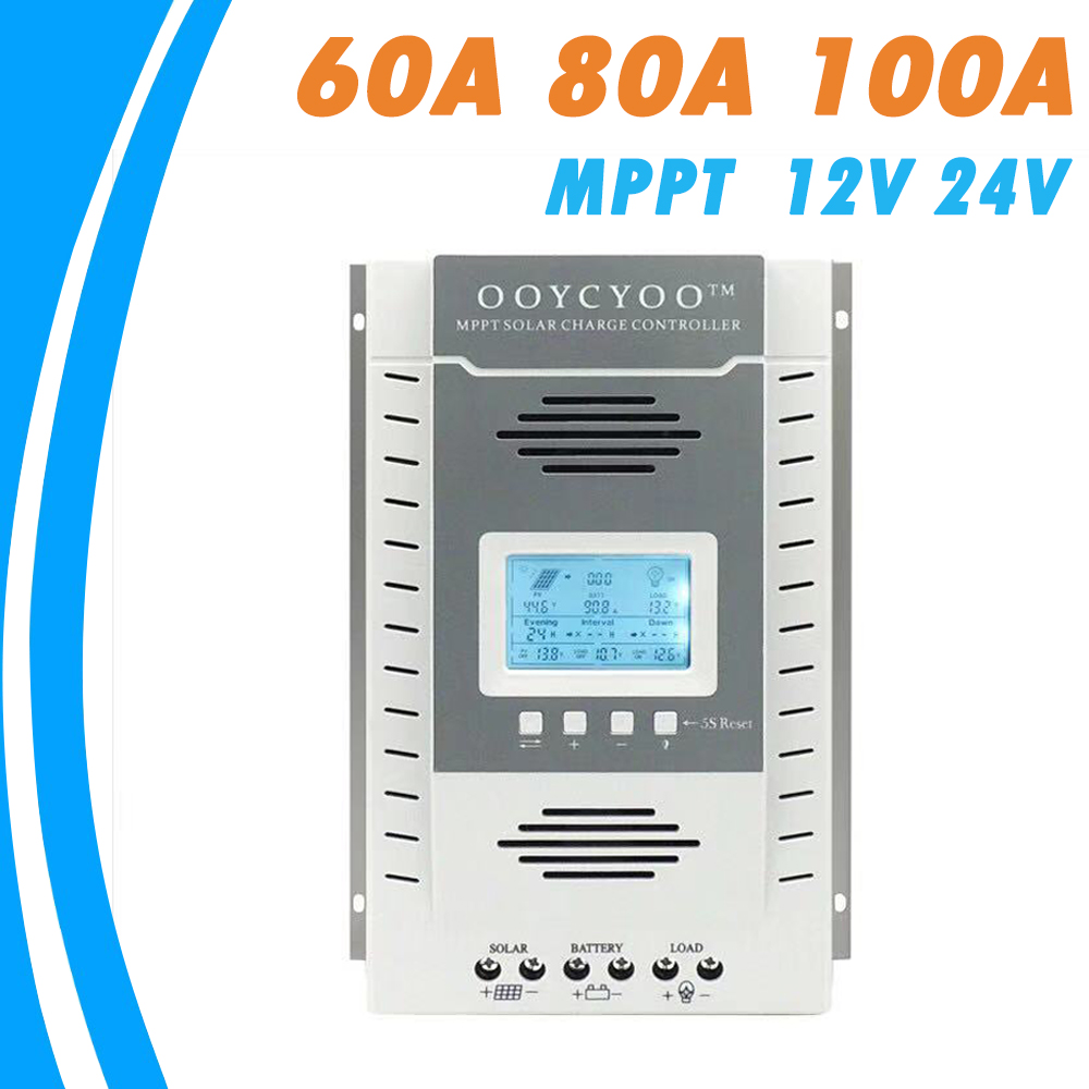 LCD Solar Panel Battery MPPT Regulator Charge Controller USB 20A-80A 12V//24V