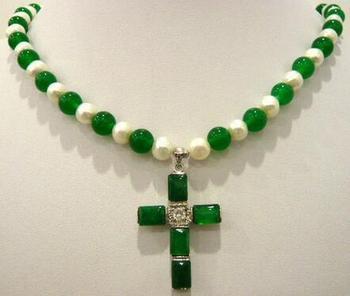 """¡WOW! Collar de colgante de Cruz de JADE natural verde y Perla blanca de 7-8mm 18"""""""