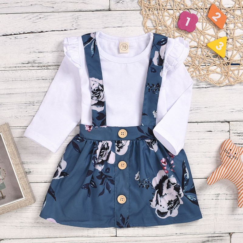 Autumn Baby Girl Long Flare Sleeve Cotton Romper Strap Suspenders Floral Skirts Casual Outfits Set