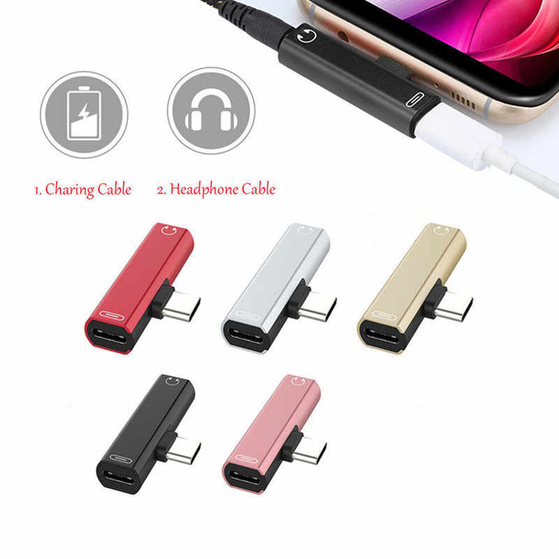 Dual Type C Cho Huawei P30 Giao Phối 20 Giao Phối 30 Pro Lite Oneplus 7 7 T Pro USB 3.5mm AUX Bộ Chia Loại C AUX Chuyển Đổi Loại C